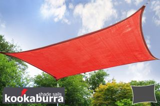 Voile d'Ombrage Rouge Rectangle 4x3m - Ajouré Premium - 185g/m2 - Kookaburra®