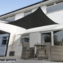 Voile d'Ombrage Noir Rectangle 4x3m - Imperméable - 160g/m2 - Kookaburra