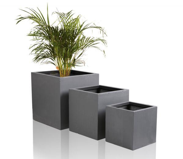 40cm cache pot cube en fibre d 39 argile gris fonc 54 99. Black Bedroom Furniture Sets. Home Design Ideas