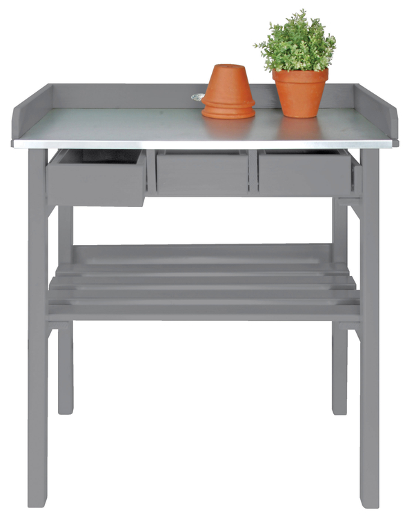Table Culture Empotage Bois Grise - 3 tiroirs - 83x78x38cm
