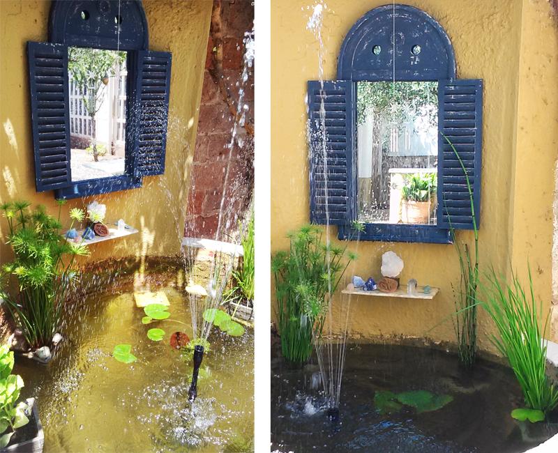 Miroir de jardin rustique louvre avec cadre en bois bleu 74 99 - Miroir de jardin ...
