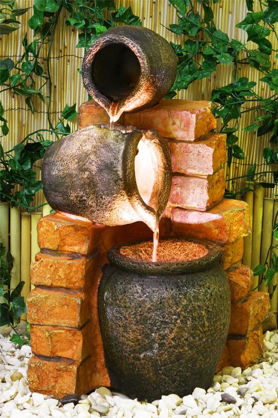 Fontaine jarre d 39 huile avec lumi res 209 99 for Bombas solares para fuentes de jardin
