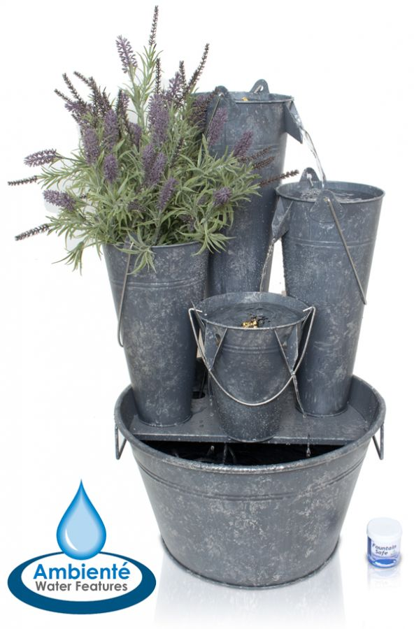 fontaine cascade borelli seaux en zinc avec jardini re et. Black Bedroom Furniture Sets. Home Design Ideas