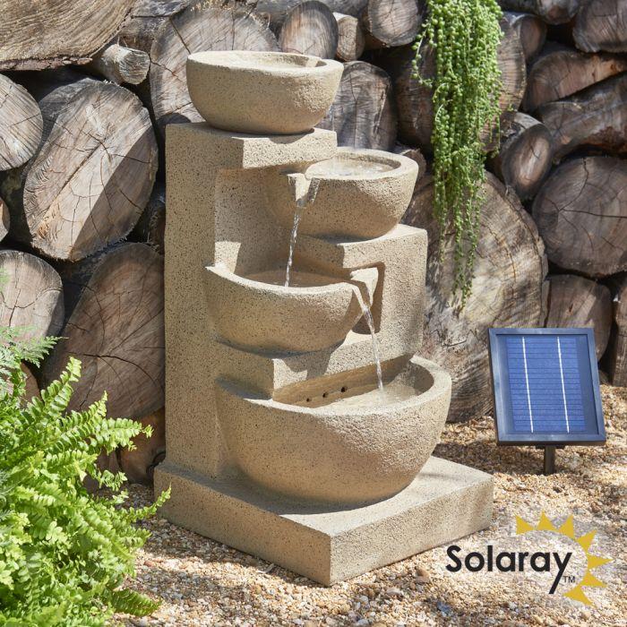 Fontaine Solaire Kendal 72 cm Cascade 4 Niveaux avec Éclairage par Solaray™