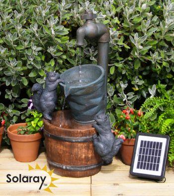 Fontaine d 39 ext rieur solaire robinet et ecureuils 99 99 for Vase solaire exterieur