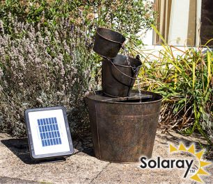 Solar Metal Bucket Cascade - H49cm - by Solaray™