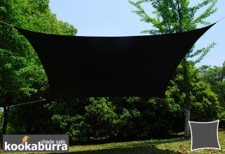 Voile d'Ombrage Noir Rectangle 5x4m - Imperméable - 160g/m2 - Kookaburra