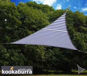 Voile d'Ombrage Bleue Et Blanche Triangle Rectangle 4,2m - Imperméable - 160g/m2 - Kookaburra®