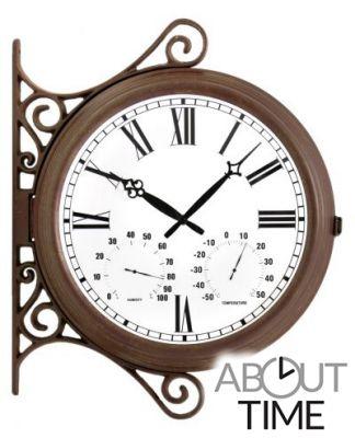 horloge de gare exterieur thermom tre hygrom tre double face 38cm about time 99 99. Black Bedroom Furniture Sets. Home Design Ideas