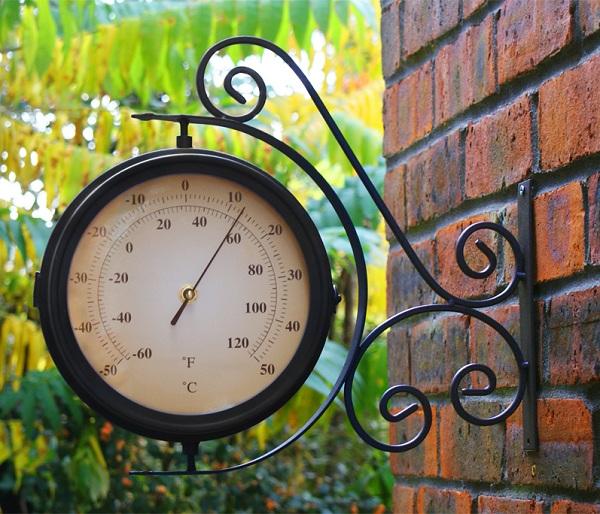 horloge d 39 ext rieur pivotante avec thermom tre about time 39 99. Black Bedroom Furniture Sets. Home Design Ideas