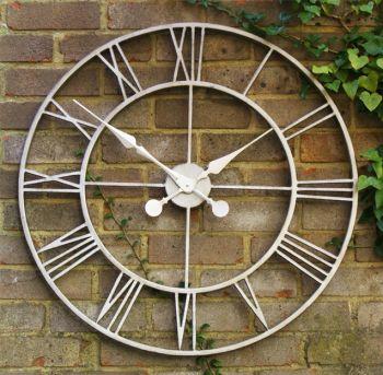 Grande horloge d 39 ext rieur rustique en m tal 77 cm 84 99 - Grande horloge murale blanche ...