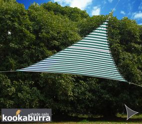Voile d'Ombrage Verte Et Blanche Triangle Rectangle 4,2m - Imperméable - 160g/m2 - Kookaburra®