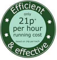 only 12.6p per hour running cost (900W setting)