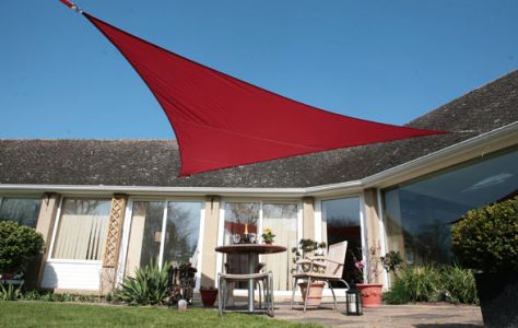 Voile d'Ombrage Rouge Triangle 3,6m - Imperméable - 160g/m2 - Kookaburra®