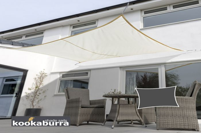 Voile d'Ombrage Ivoire Rectangle 6x5m - Imperméable - 160g/m2 - Kookaburra®