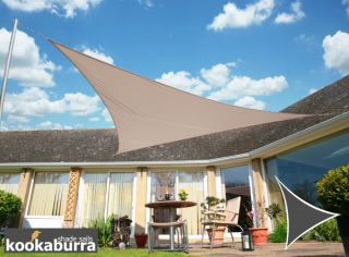 Voile d'Ombrage Taupe Triangle 3m - Déperlant - 140g/m2 - Kookaburra®