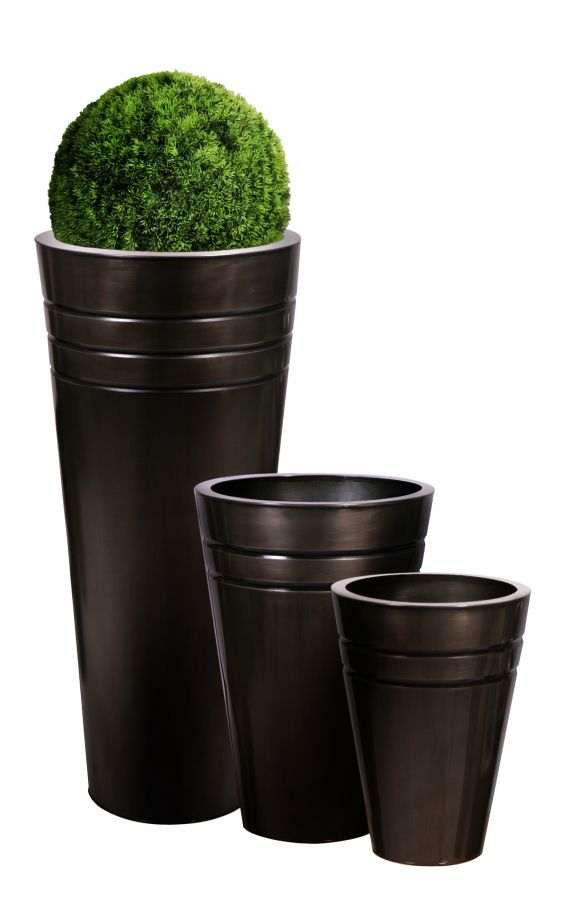 90cm cache pots hauts ronds en zinc platine 64 99. Black Bedroom Furniture Sets. Home Design Ideas