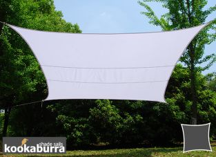 Voile d'Ombrage Blanc Rectangle 5x4m - Déperlant - 140g/m2 - Kookaburra®