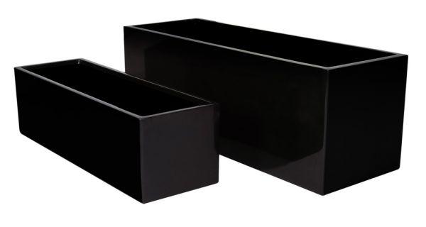 cache pot rectangulaire en fibre de verre noir finition laqu brillant 69 99. Black Bedroom Furniture Sets. Home Design Ideas