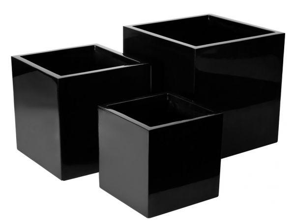 60cm grand cache pot cubique fibre de verre noir 214 99. Black Bedroom Furniture Sets. Home Design Ideas