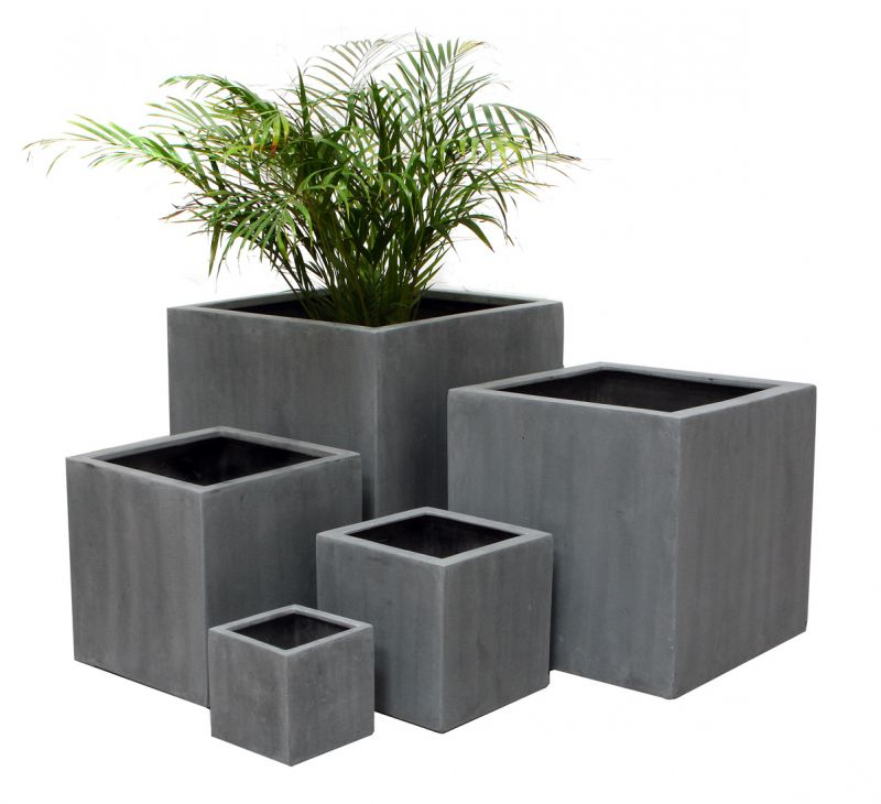40cm grande cache pot cube gris 214 99. Black Bedroom Furniture Sets. Home Design Ideas