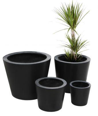 Cache-pots Polystone Ronds – Noir – Grand (Hauteur : 40 cm – Diamètre : 50 cm)