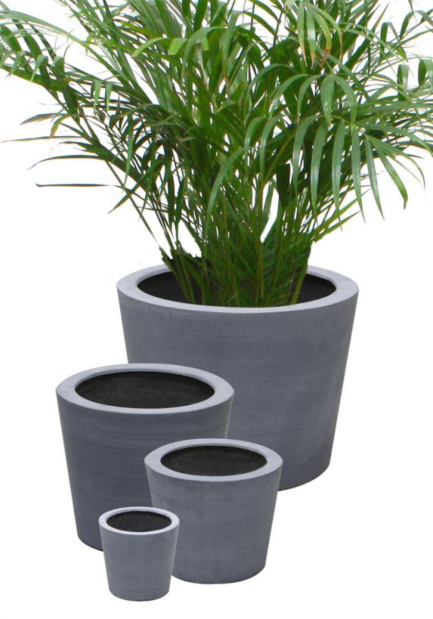 Cache pots polystone ronds gris jumbo hauteur 57 cm for Cache pots exterieur