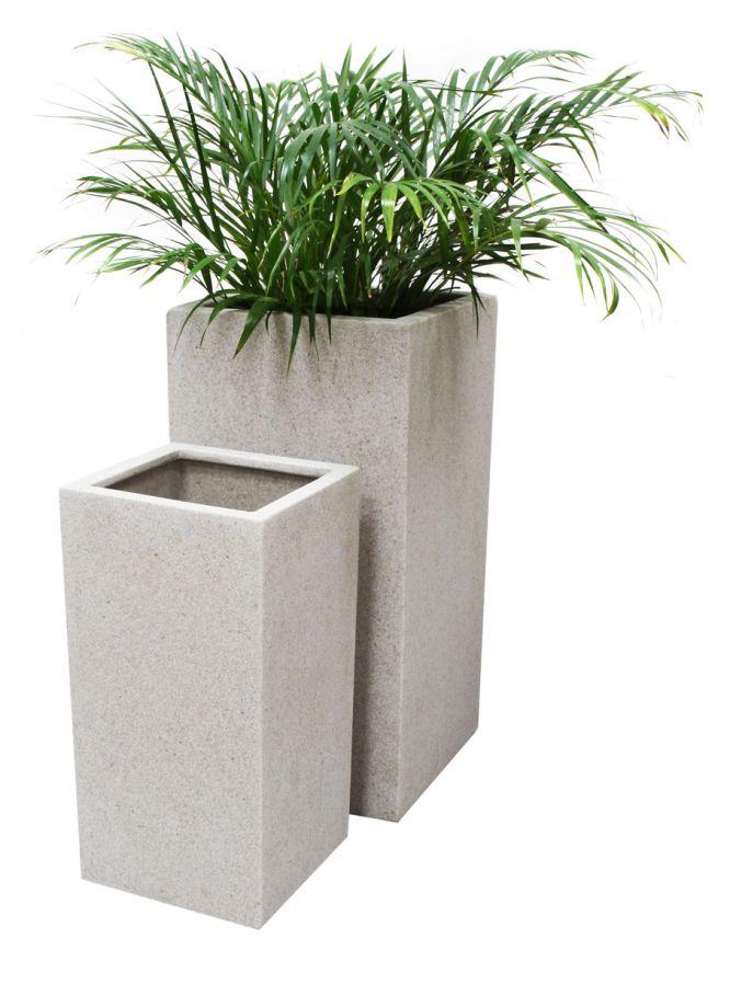 Petit cache pot cubique poly terrazzo blanc h60cm x 30cm for Cache pot design exterieur
