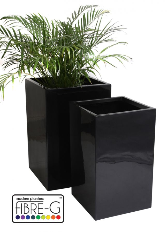 Cache Pot Cubique et Gel Noir - Grand