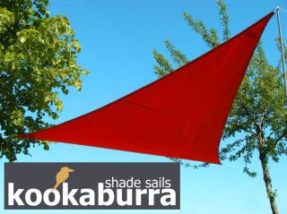 Voile d'Ombrage Rouge Triangle 5m - Imperméable - 160g/m2 - Kookaburra®