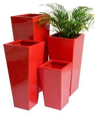 Grand cache pot cubique et gel rouge petit 74 99 for Pot exterieur rouge