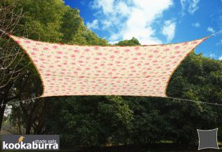 Voile d'Ombrage Ivoire Motif Rose Rectangle 3x2m - Imperméable - 160g/m2 - Kookaburra®