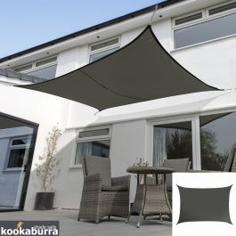 Voile d'Ombrage Charbon Rectangle 6x5m - Déperlant - 140g/m2 - Kookaburra®
