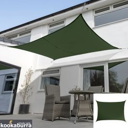 Voile d'Ombrage Vert Rectangle 6x5m - Déperlant - 140g/m2 - Kookaburra®