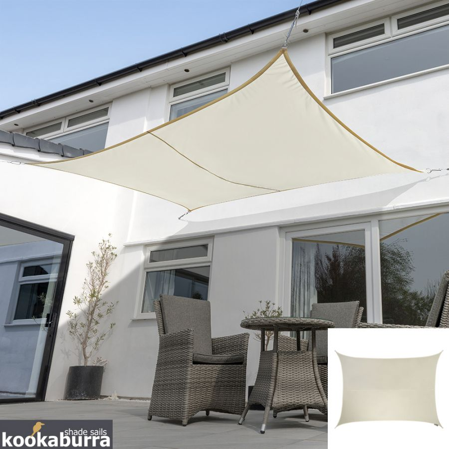 Voile d'Ombrage Ivoire Rectangle 6mx5m - Déperlant - 140g/m2 - Kookaburra®