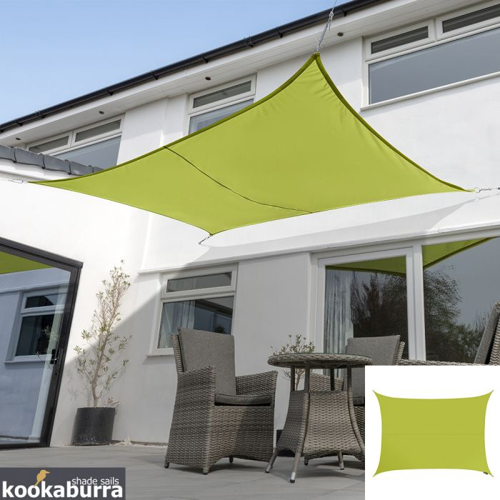 Voile d'Ombrage Vert Citron Rectangle 6x5m - Déperlant - 140g/m2 - Kookaburra®
