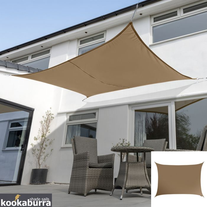 Voile d'Ombrage Mocha Rectangle 4x3m - Déperlant - 140g/m2 - Kookaburra®