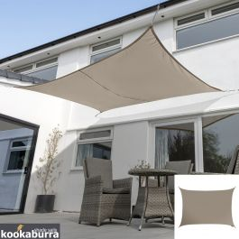 Voile d'Ombrage Taupe Rectangle 6x5m - Imperméable - 160g/m2 - Kookaburra®