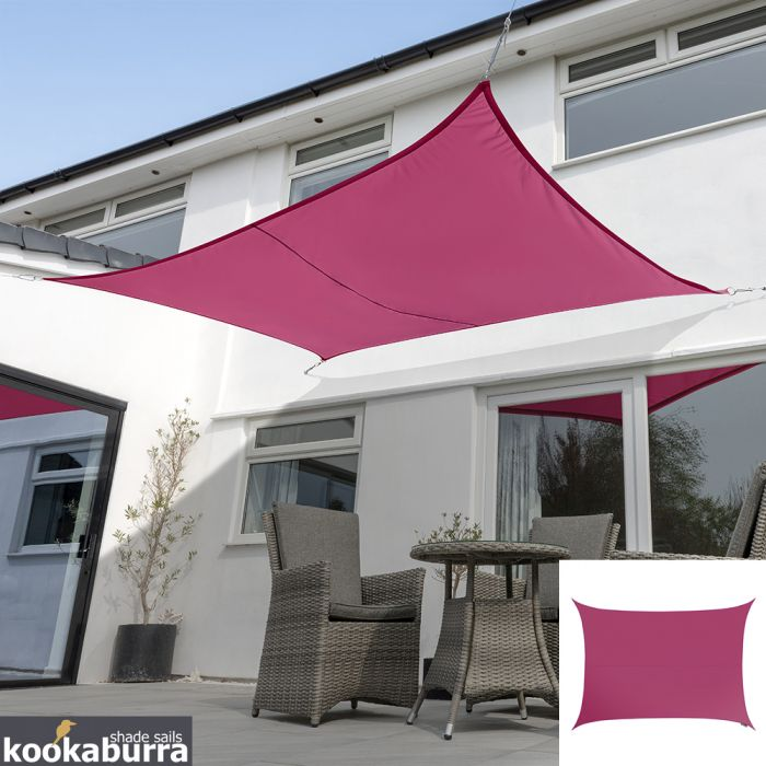 Voile d'Ombrage Rose Rectangle 5x4m - Imperméable - 160g/m2 - Kookaburra®
