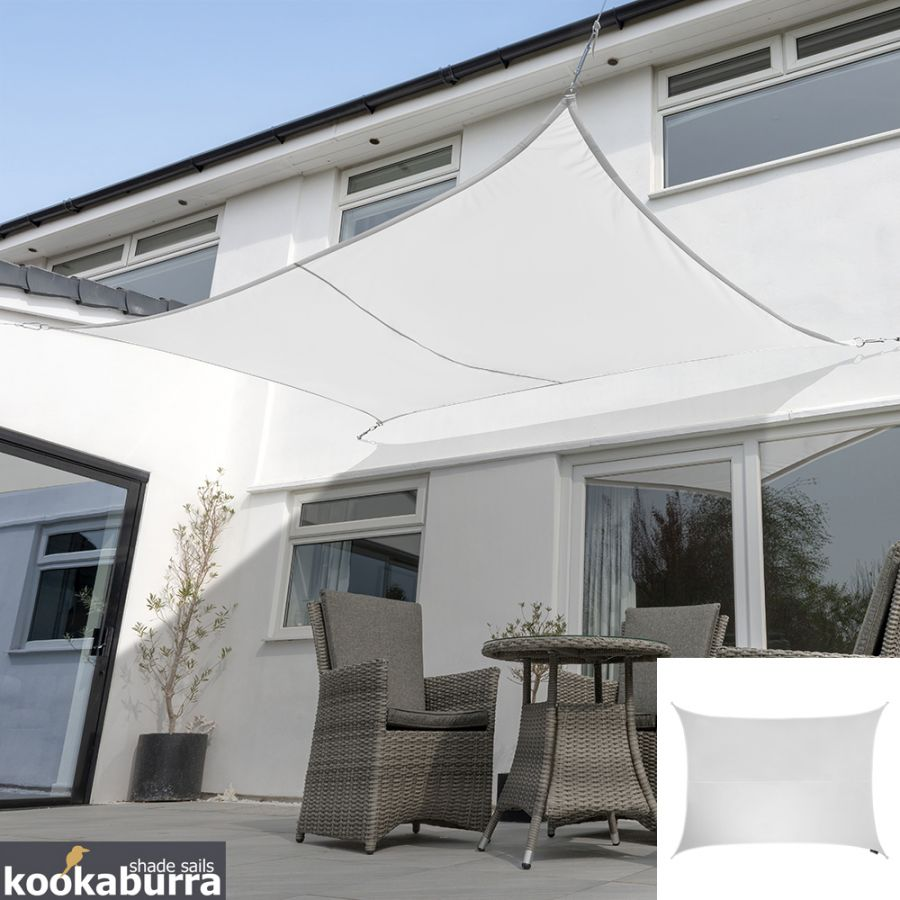Voile d'Ombrage Blanc Rectangle 4x3m - Déperlant - 140g/m2 - Kookaburra®