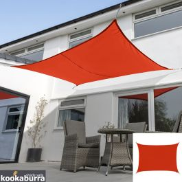 Voile d'Ombrage Rouge Rectangle 5x4m - Imperméable - 160g/m2 - Kookaburra®