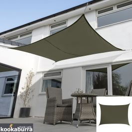 Voile d'Ombrage Vert Olive Rectangle 5x4m - Imperméable - 160g/m2 - Kookaburra®