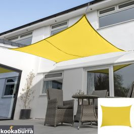 Voile d'Ombrage Jaune Rectangle 6x5m - Déperlant - 140g/m2 - Kookaburra®