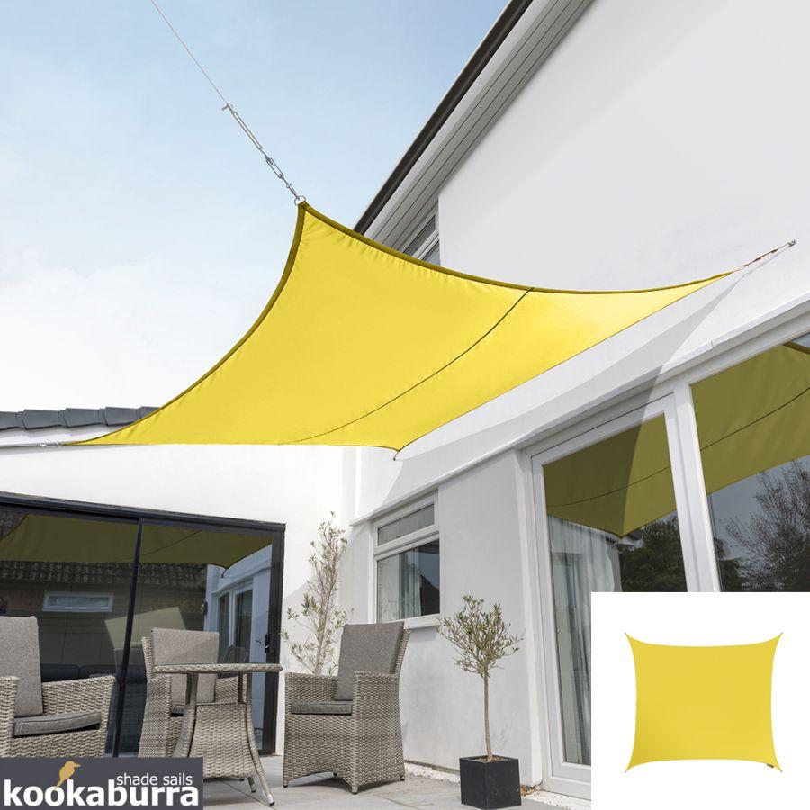 Voile D Ombrage 6 X 4 voile d'ombrage jaune carré 3,6m - imperméable - 160g/m2 - kookaburra®
