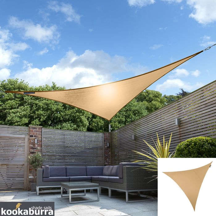 Voile d'Ombrage Abricot Triangle 3,6m - Imperméable - 160g/m2 - Kookaburra®
