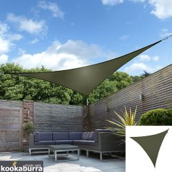 Voile d'Ombrage Vert Olive Triangle 5m - Imperméable - 160g/m2 - Kookaburra®