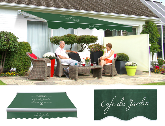 store banne monobloc manuel caf du jardin vert 4m x. Black Bedroom Furniture Sets. Home Design Ideas