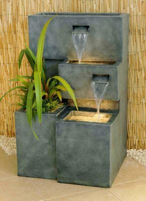 fontaine dextrieur cascade jardinire avec lumires - Jardiniere Exterieure Contemporaine