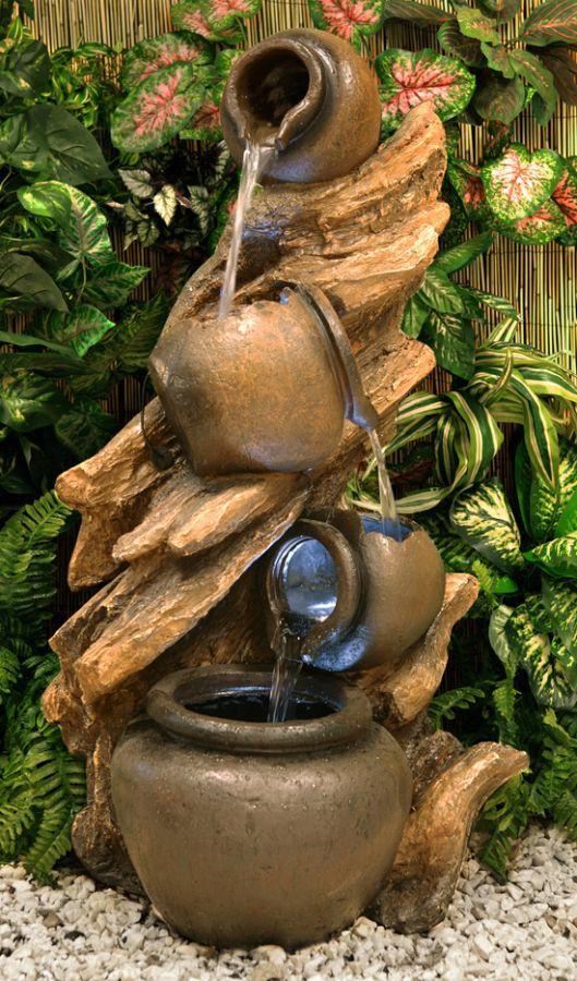 Fontaine d 39 ext rieur 4 pots de miel sur troncon d 39 arbre - Fuentes para jardin baratas ...