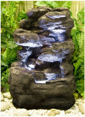 fontaine de jardin avec clairage cascade rocheuse 139 99. Black Bedroom Furniture Sets. Home Design Ideas